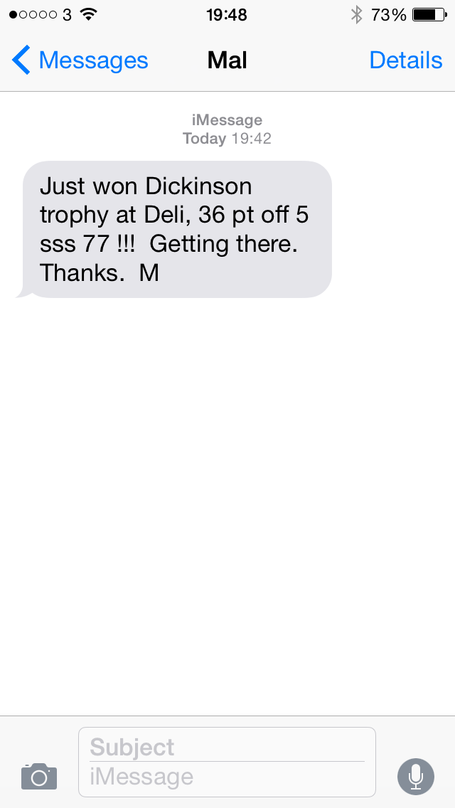 Solid Golf Testimonial Text