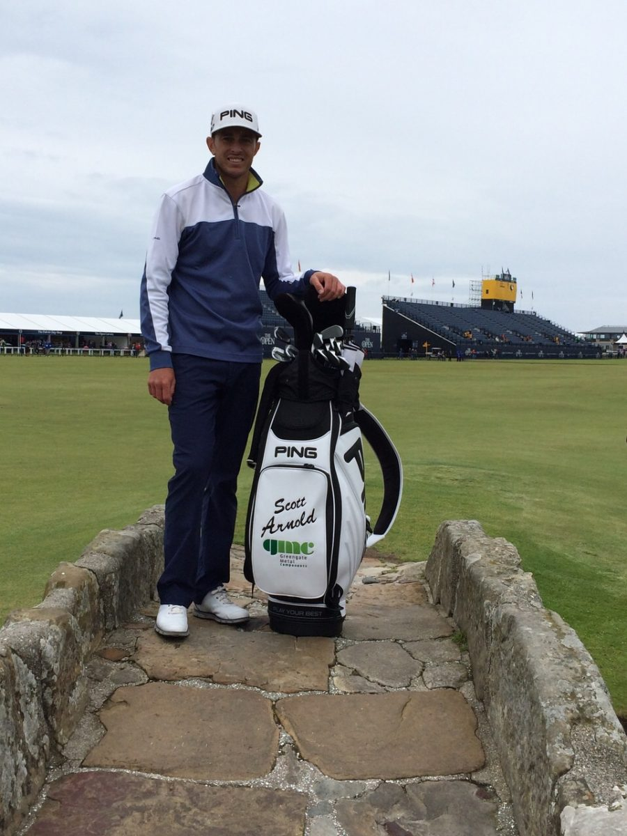 Scott Arnold on Swilcan Bridge at the Open 2015